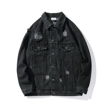 Hand Print Hole Lapel Solid Hip Hop Denim Jacket