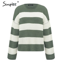 Striped knitted O neck thick pullover Loose soft casual wool sweater