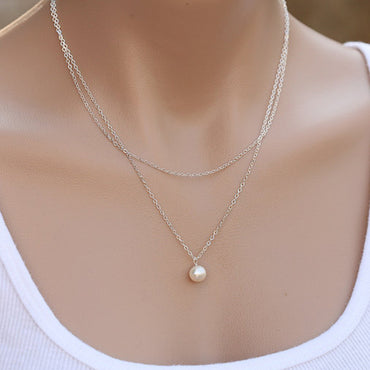 Sweet Simple Double Layer Pearl Collarbone Necklace