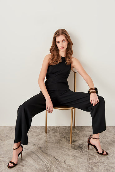 Black Waist Decolletage Jumpsuits
