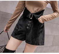 Velvet Belt Midi Buttons High Waist Pocket Black Shorts