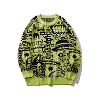 Skull Print Pullover O-neck Long Sleeve Hip Hop Sweaters