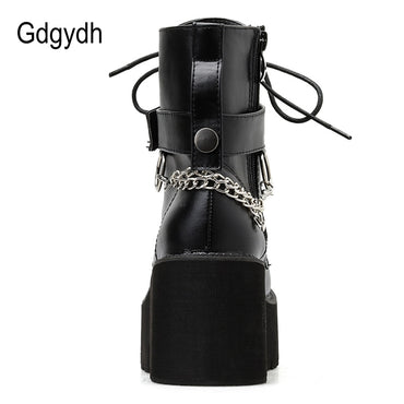 Sexy Chain Leather Block Heel Gothic Black Punk Style Boots