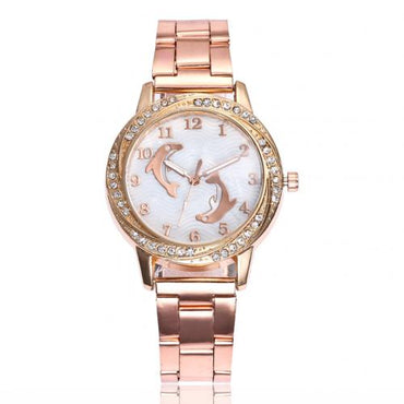 Lovely Dolphin Alloy Band Analog Inlaid Rhinestone Wrist Watch