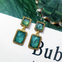 Acrylic Geometric Retro Green Rectangular Dangle Earrings