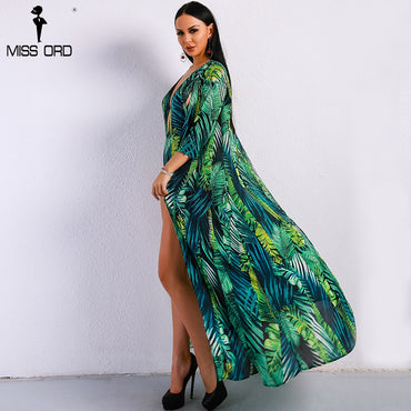 Green Deep V Print Long Sleeve Sexy Long Boho Bohemian Rompers