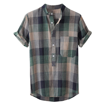Cotton Linen Plaid Stand Collar Short Sleeve Shirts