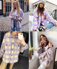 Stylish Sweet Plaid Woolen Shirt Jackets