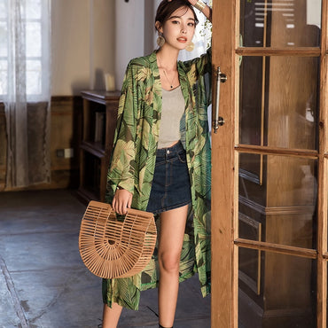 Chiffon Shirt Sunscreen Perspective Long Blouse Leaves Print Kimono