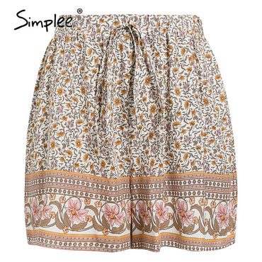 floral print High waist elastic lace up casual Boho Bohemian Shorts