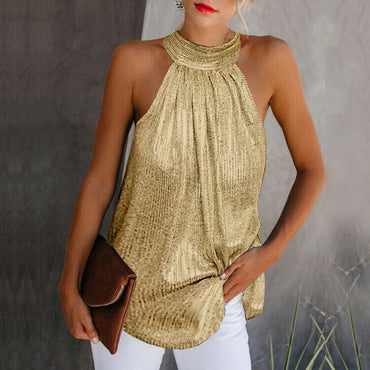 Gold High Neck Sleeveless Casual Loose Blouse