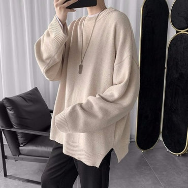 Joker solid color crew neck solid color sweater
