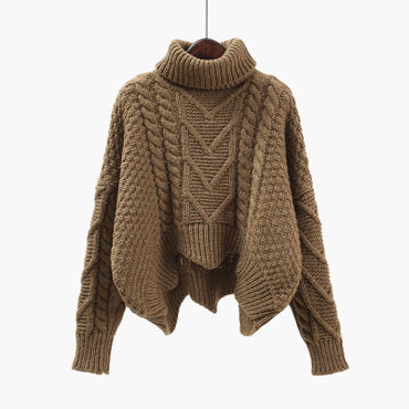 Loose Twist Knitted Short Design Pullover Turtleneck Sweaters