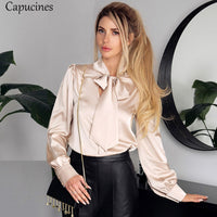 Bow Tie Imitation Silk Long Sleeves Satin Shirt Blouses