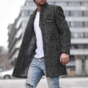 Lapel Solid Color Slim Fit Wool Blends Trench Coat