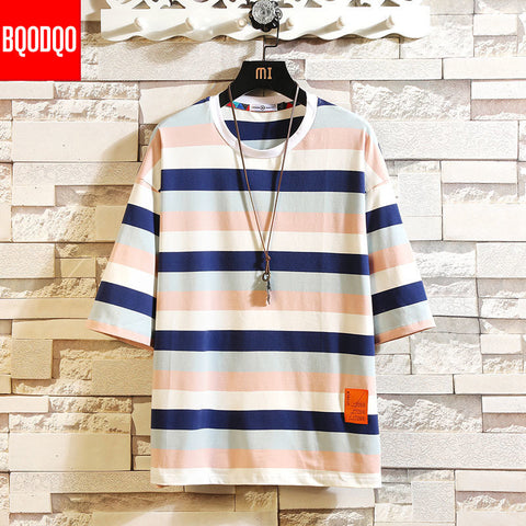 Striped Casual Short Sleeve Oversized Cotton T Shirt
