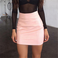 Leather Solid Bodycon Slim Pencil Short Mini Skirt