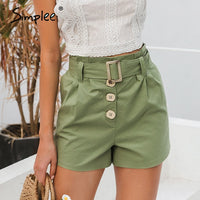 Casual green Sash belt cotton buttons shorts