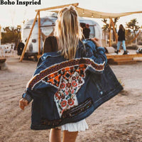Embellished Denim Bohemian Jackets Coats