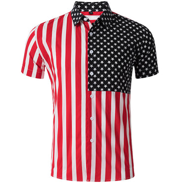 Patchwork Blue Star Red Striped Flag Short Sleeve Shirts