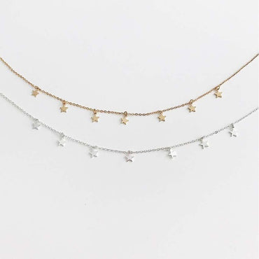 Gold stars pendant necklace