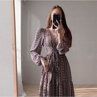 Floral Bandage Chiffon v Neck Long Sleeve a Line Purple Boho Bohemian Dress