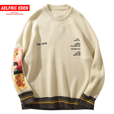 Aelfric Eden Hip Hop Van Gogh Painting Embroidery Knitted Sweater