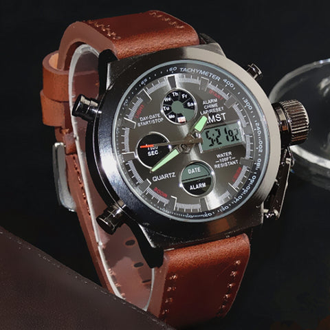 Military Leather Strap LED Watches