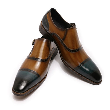 Monk Buckle Strap Loafers Brown Blue Cap Toe Oxford Shoes