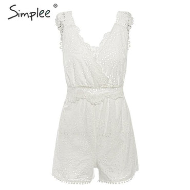 White embroidery white lace backless tassel Rompers