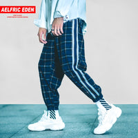 Hip Hop Plaid Stripe Patchwork Harem Pants