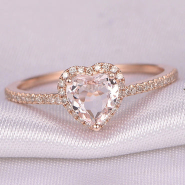 Rose Gold Crystal Heart Shaped Rings