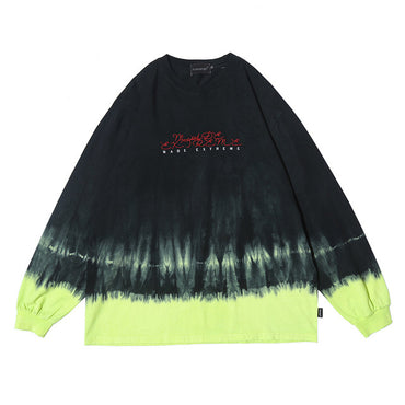 Watercolor Tie Dye Pullover Hit Color High Street Style Sweatshirt