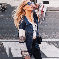 Denim chic Spliced long sleeve Bohemian Jackets Coats
