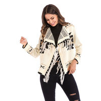 Fringe Vintage Thick Plaid Embroidery Bohemian Jackets Coats