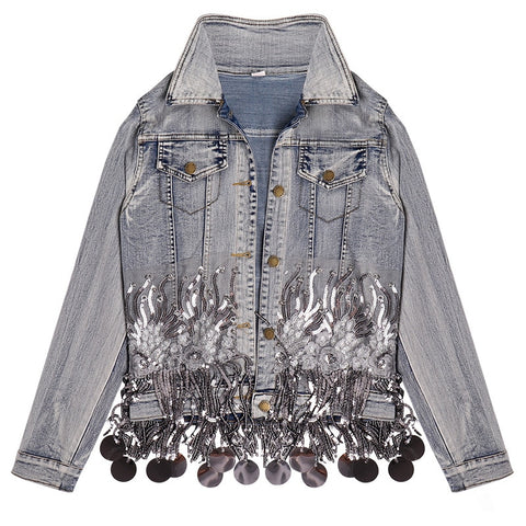 Blue Loose Short Denim Bohemian Jackets Coats