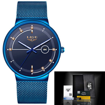 Gold Mesh Waterproof Clock Slim Watch