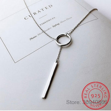 Sterling Silver Long Circle Necklaces