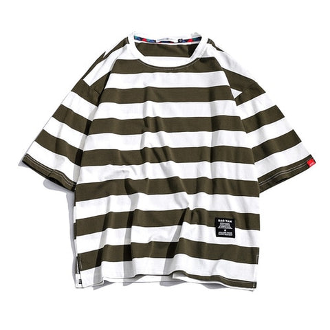 Black Cotton Striped Casual T-shirts