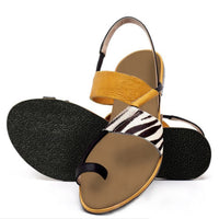 Zebra Print Heel Flip-flops Slip-on Casual Sandals