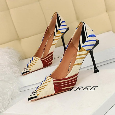 matching color cloth ultra-high heels