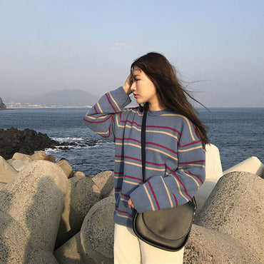 Soft O-Neck Striped Knitted Loose Sweaters