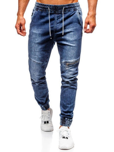 Casual Knee Zipper Loose Zip  Foot Wash Jeans