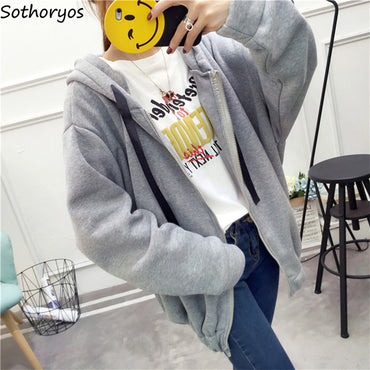 Loose Thicker Zipper Letter Printed Hoodie