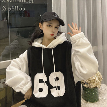 Velvet Patchwork Fake two Pieces Hip-Hop Hoodies