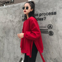Solid Loose Trendy O-Neck Red Leisure Sweatshirts