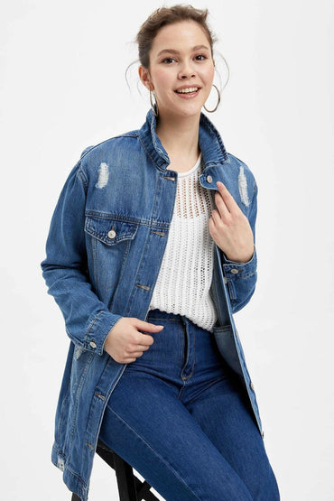 Casual Ripped Denim Jacket