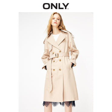 Long Slim Fit Laced Cinched Waist Trench Coat