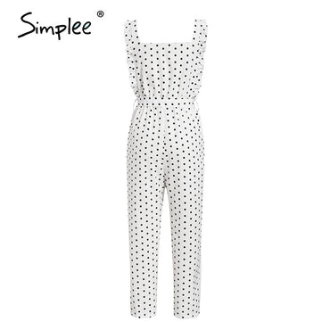 Elegant polka dot ruffles Sleeveless white Casual sexy Jumpsuits