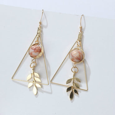 retro leaf hollow triangle marble round bead earrings